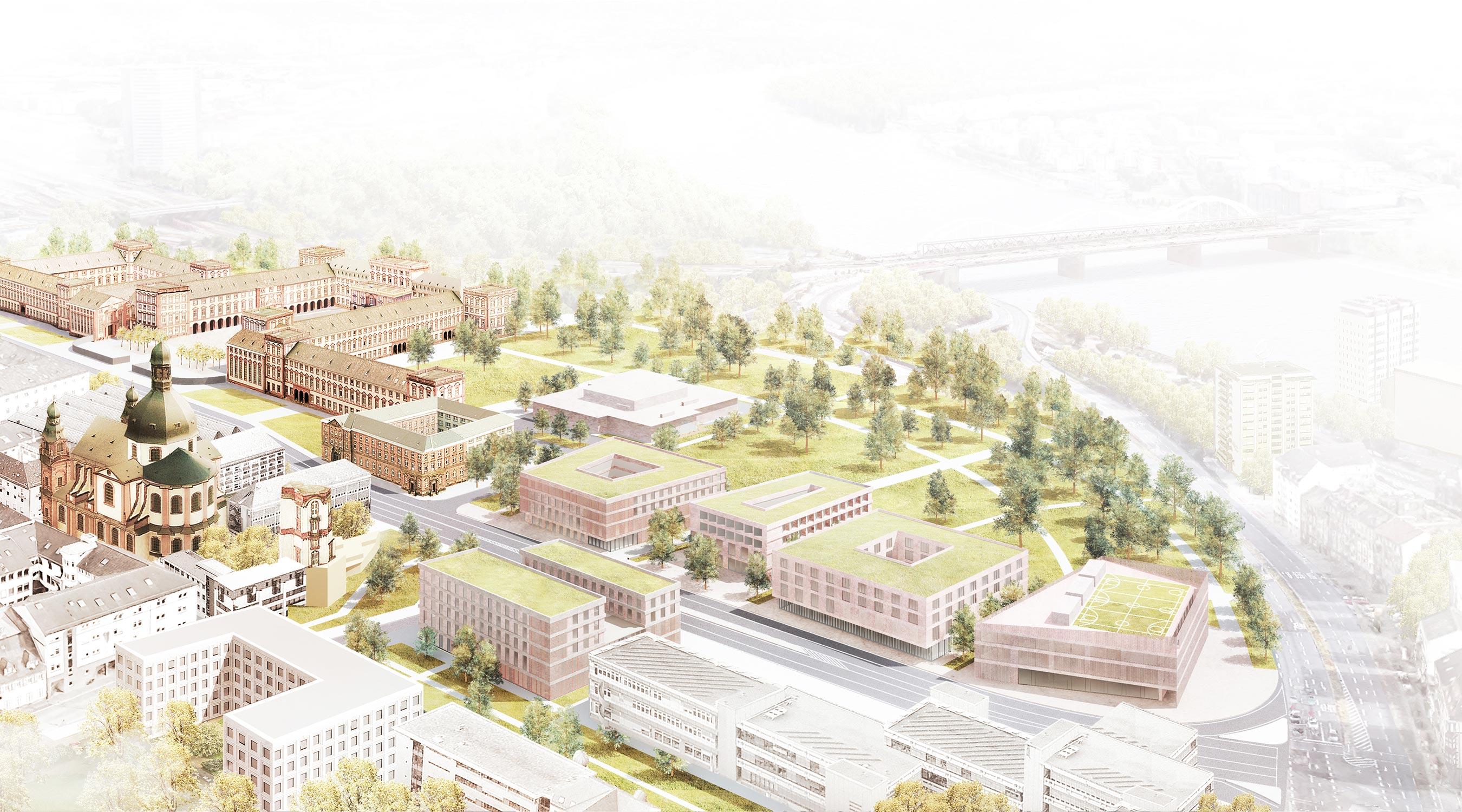 Universität Mannheim Vogelschau Perspektive